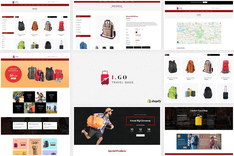 旅行包箱包商店风格Shopify主题Igo