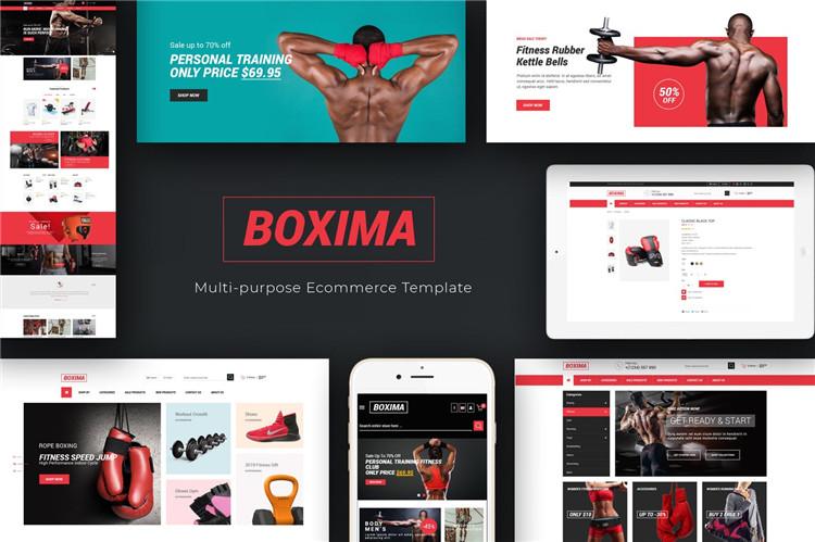 体育健身风格OpenCart主题模板Boxima