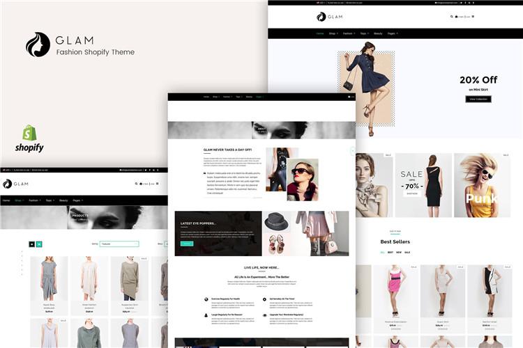 时尚简约服装Shopify主题Glam