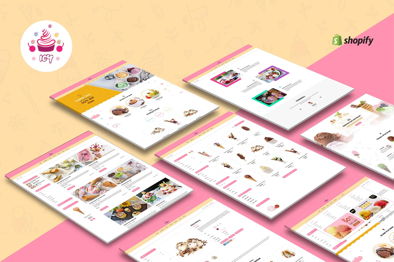 冰淇淋蛋糕店主题风格Shopify主题模板Icy