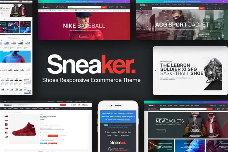 运动鞋风格商城响应Magento2模板Sneaker