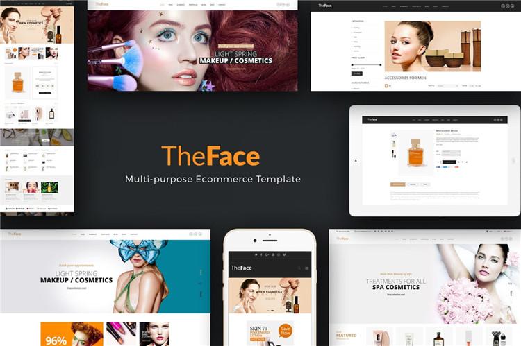 PrestaShop主题美容和化妆品商店风格Theface