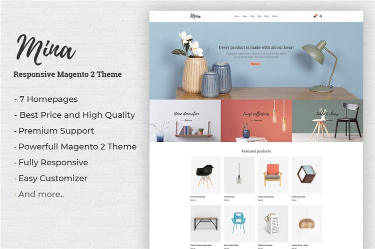 响应式家具,手工制作商店Magento 2主题Mina