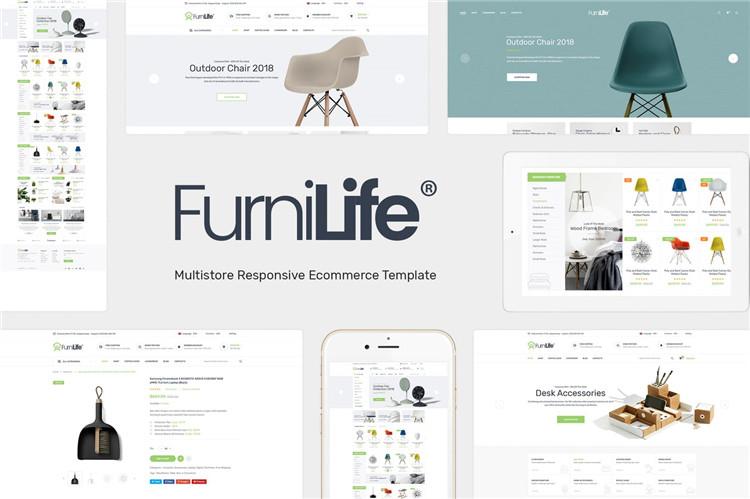 家具,装饰品用品Magento模板Furnilife
