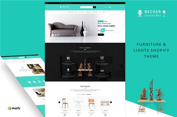 家具和灯具Shopify主题Becker
