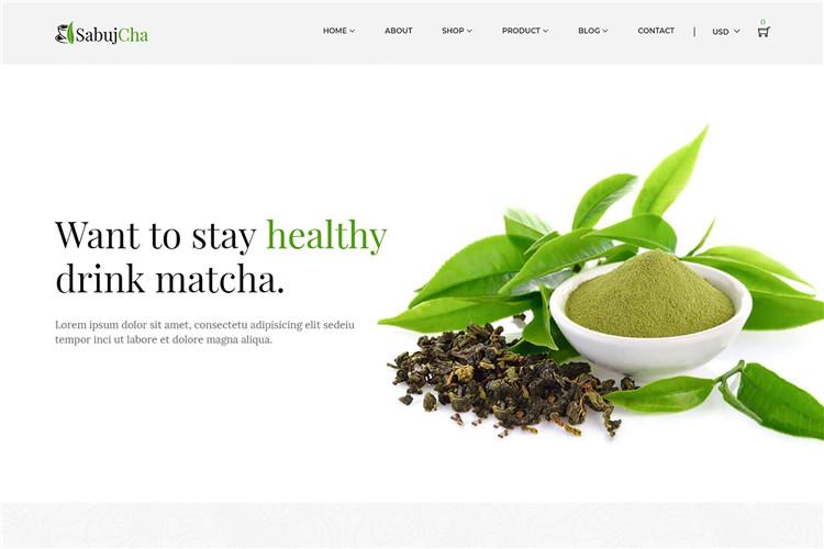 Shopify主题绿色茶叶商城风格Sabujcha