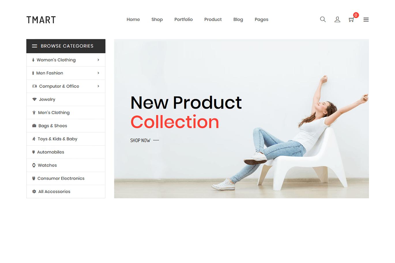 极简主义商城Shopify主题Tmart