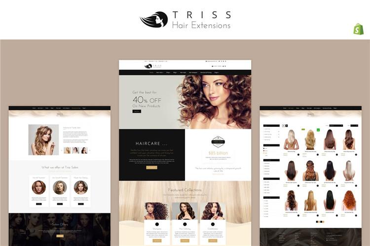 假发品牌类目商城Shopify主题Triss