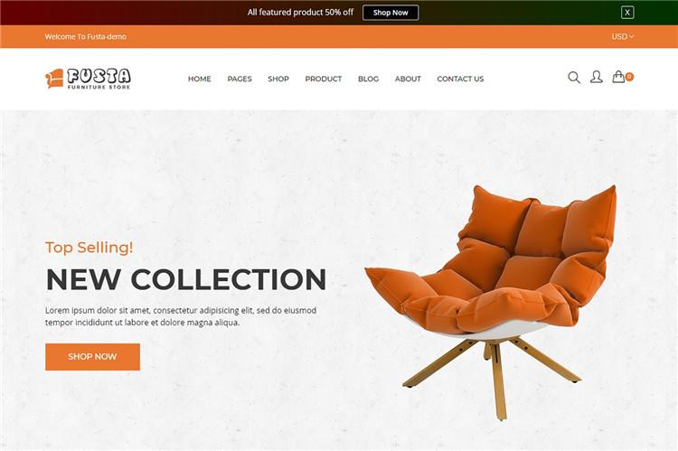 家具沙发Shopify主题Fusta