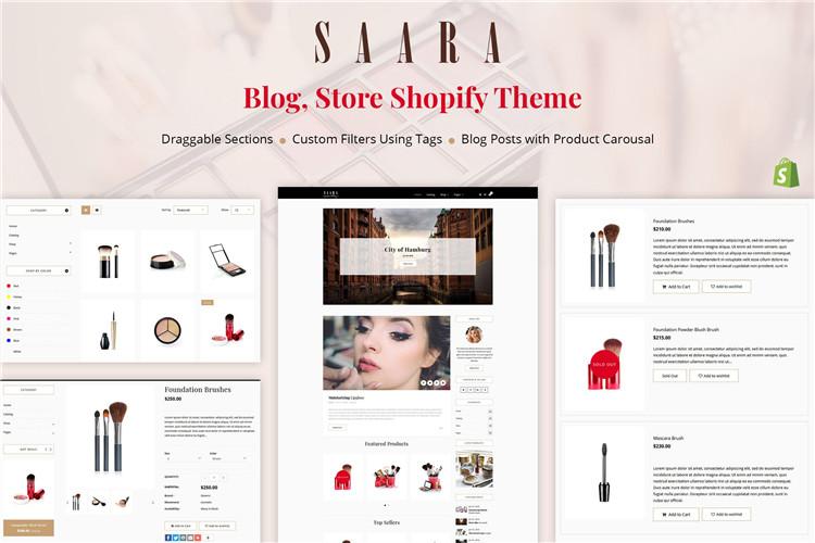 博客商店Shopify主题Saara