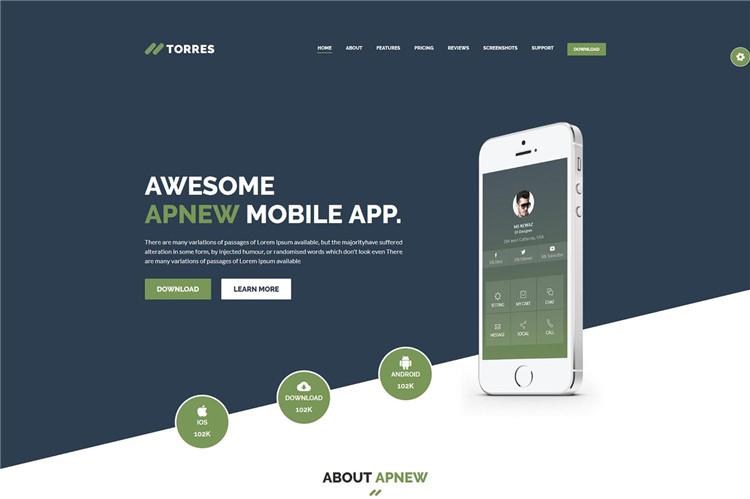 App登陆页面着陆页Bootstrap模板