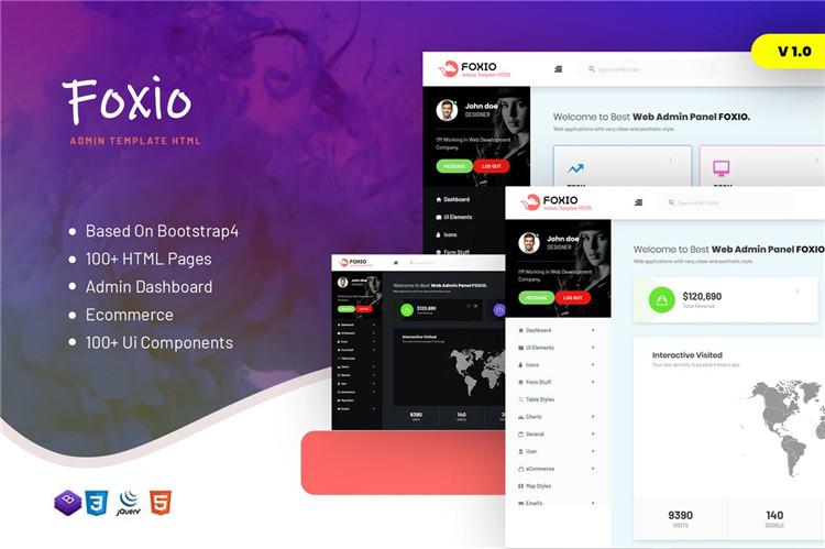 响应式管理仪表板Bootstrap模板Foxio