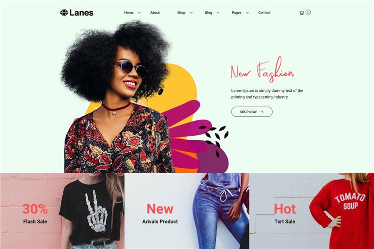 服装时尚响应式电子商务Bootstrap 4模板