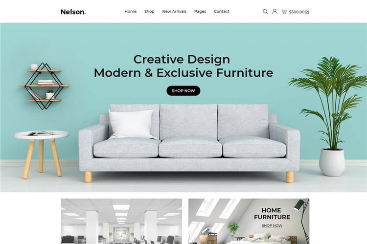简约北欧风格家具网站电子商务Bootstrap 4模板