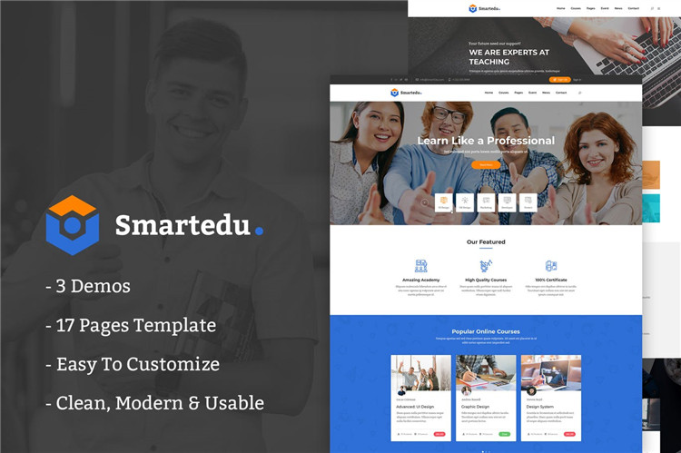 教育培训课程企业网站HTML响应式Bootstrap模板