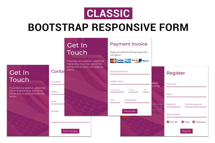 Bootstrap响应表模板注册表登录表联系表付款表THML模板