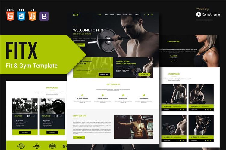 健身与健身房官网介绍HTML模板