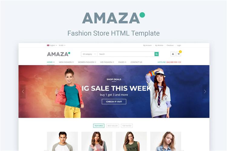 时尚服装鞋帽商店网站HTML响应式Bootstrap模板