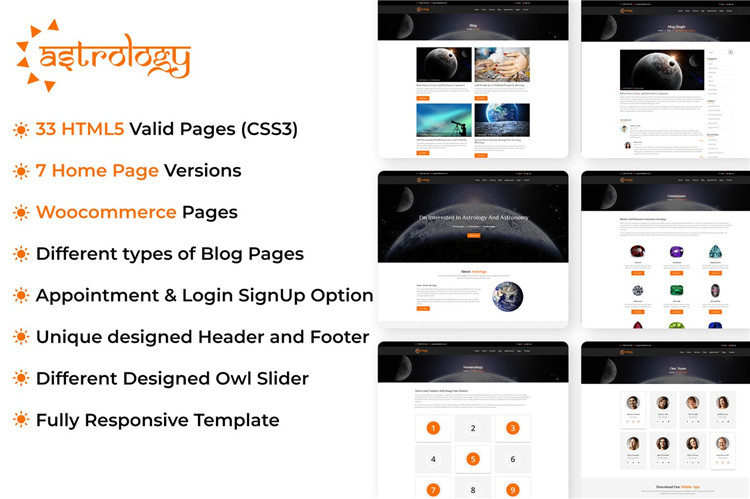占星术星座运势网站HTML响应式Bootstrap模板