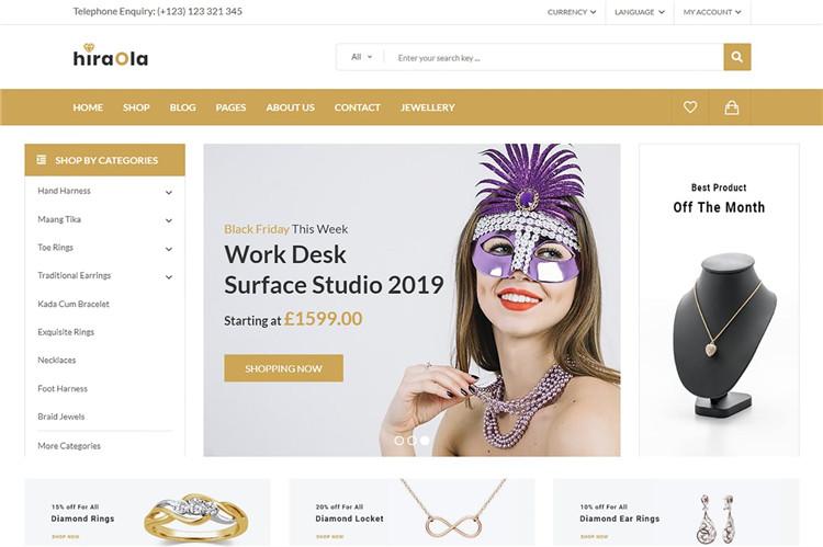 珠宝首饰电子商务网站Bootstrap 4模板