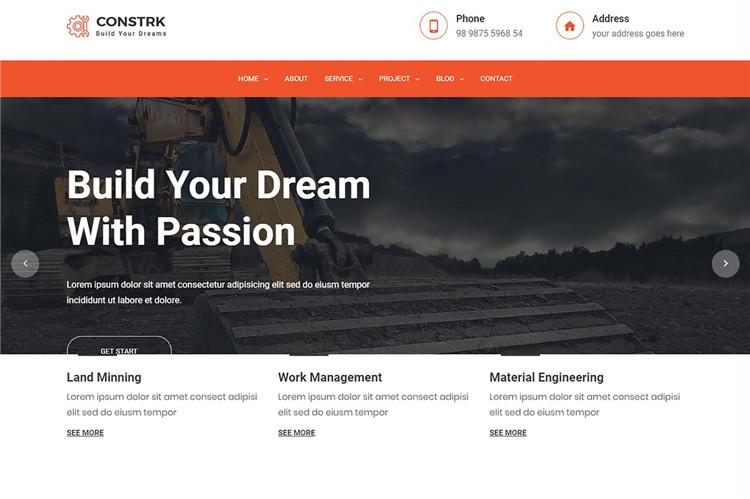 建筑施工公司网站Bootstrap 4模板