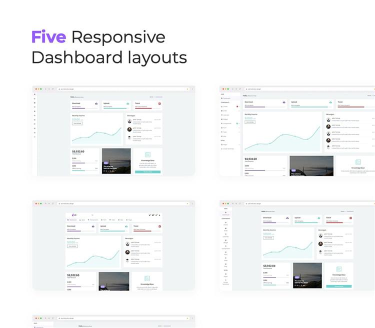 Bootstrap 4的仪表板后台管理HTML模板