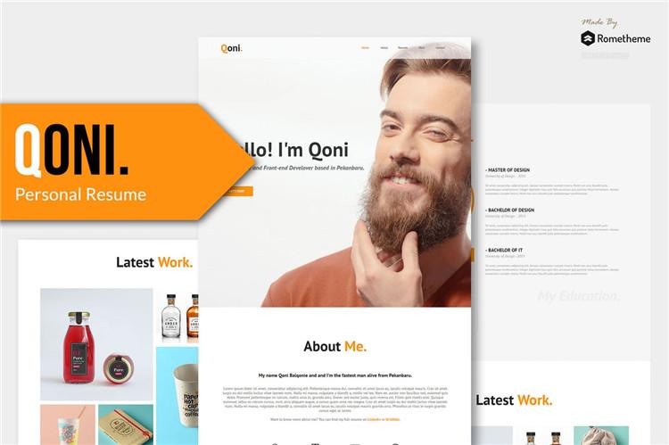 个人简历HTML模板Bootstrap 4框架模板QONI