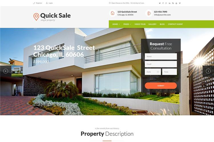 房地产公司网站HTML响应式Bootstrap模板