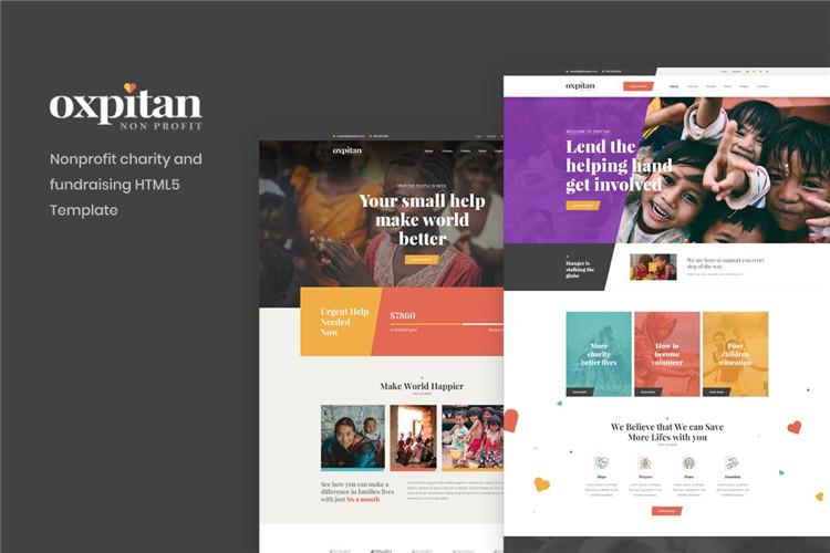 非营利慈善机构筹款HTML5模板Oxpitan