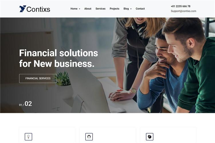 财务和金融机构公司网站Bootstrap 4模板