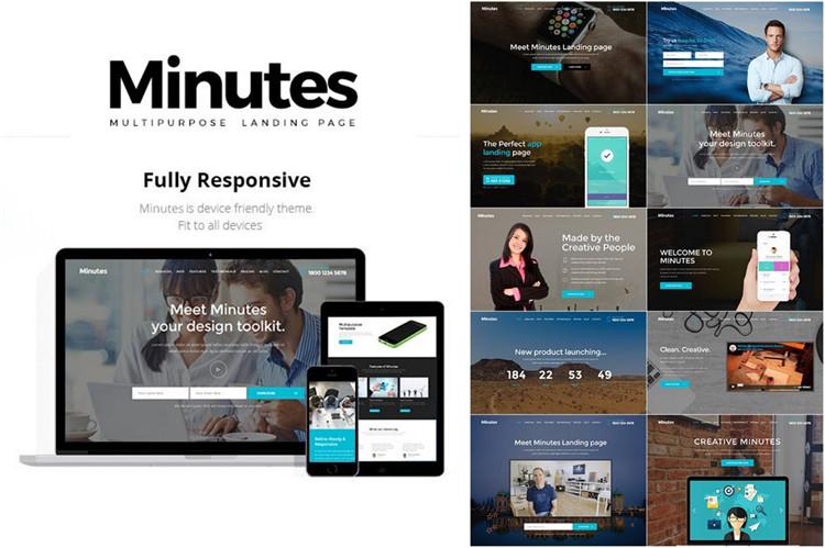 响应式Bootstrap网站产品着陆页html模板minutes