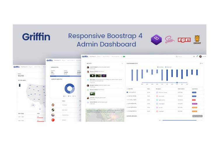 Bootstrap 4.1.3后台管理项目仪表盘模板Griffin