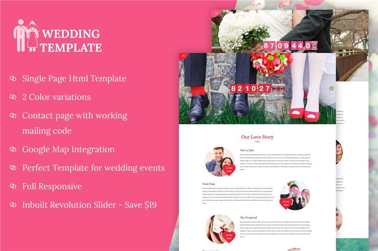 婚礼邀请网站HTML响应式Bootstrap模板