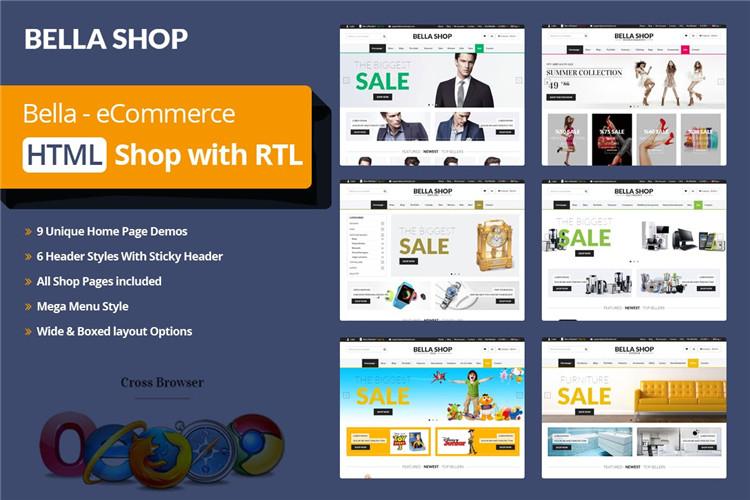 多用途电子商务网站界面HTML响应式Bootstrap模板