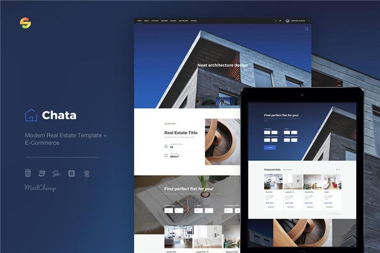房地产模板+电子商务Bootstrap 4框架的HTML模板