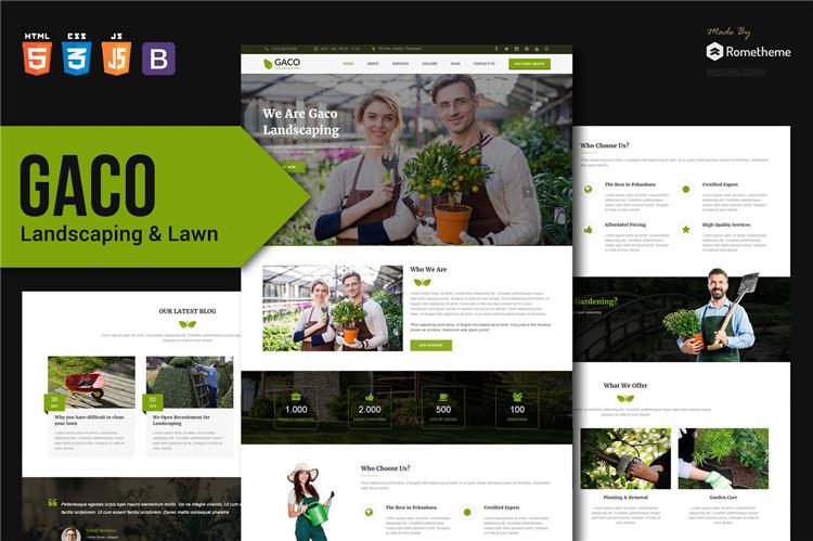 园林绿化和园艺公司HTML响应式Bootstrap模板