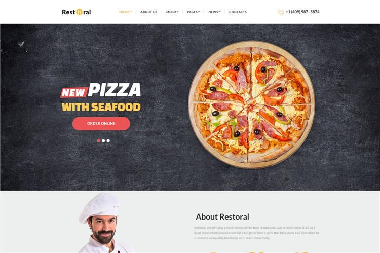 披萨餐厅企业官网HTML响应式Bootstrap模板