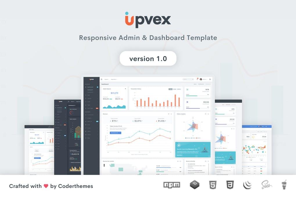 bootstrap v4管理员后台仪表板模板Upvex