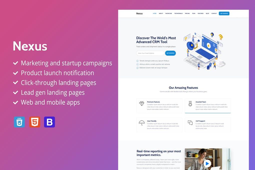 高级SaaS登陆页面Bootstrap 4.13模板