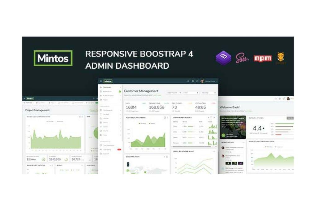 响应式Bootstrap 4后台管理仪表板Mintos