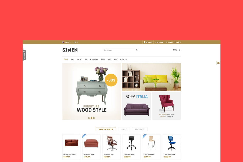 简约家具商店magento1.9模板SNS Simen