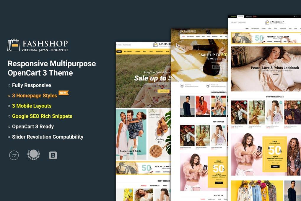 FashShop多功能OpenCart 3主题模板下载