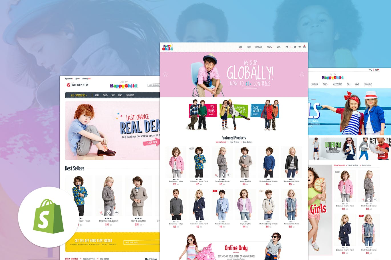 儿童服装衣服风格shopify主题模板HappyChild