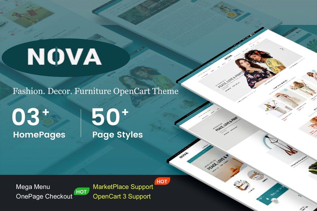 响应式时尚OpenCart 3主题Nova