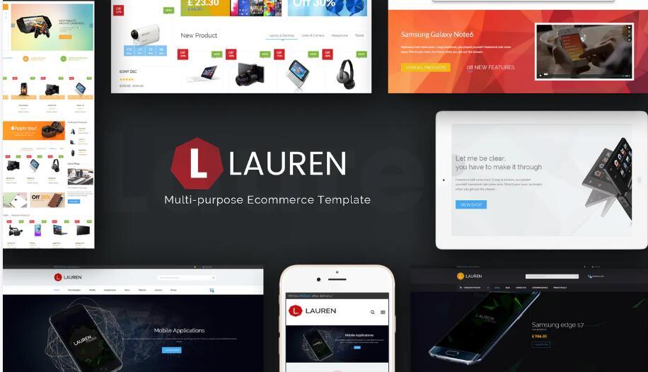 数码电子产品科技商店magento模板Lauren