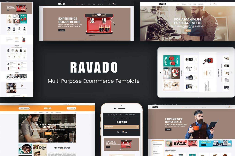 咖啡店主题风格Opencart模板Ravado