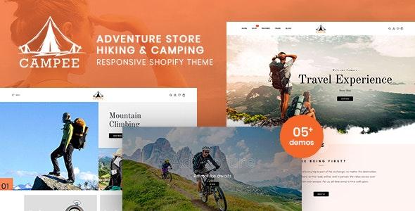 露营户外旅行背包产品店铺shopify模板Campee