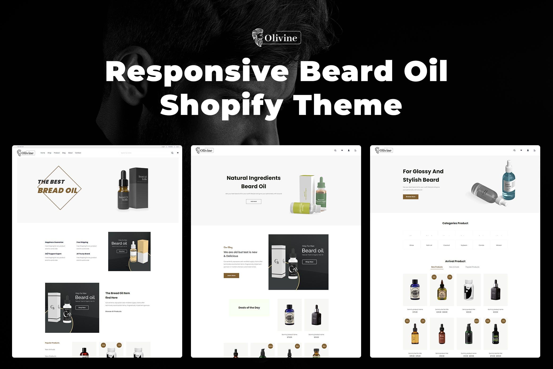 响应式胡须油Shopify主题模板Olivine