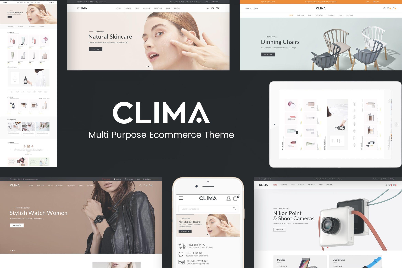 化妆品家具高科技产品多种风格opencart模板Clima