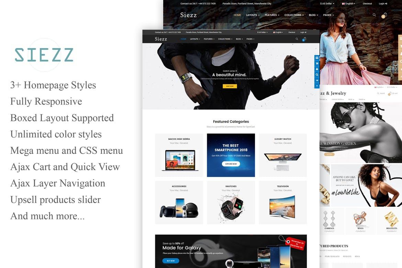 多功能服装首饰商城OpenCart 3主题(包括移动版式)Siezz